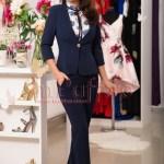 Pantaloni dama office bleumarin cu talie inalta