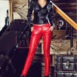 Pantaloni rosii din piele ecologica