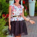 Rochie Adelina Neagra Scurta cu Trandafiri