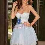 Rochie baby-doll cu buline albastre