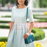Rochie bleu ciel brocard