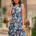 Rochie bumbac imprimeu floral albastru