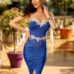 Rochie de seara albasta pe corp