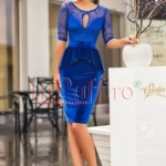 Rochie de seara trei sferturi dantela peplum albastra
