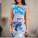 Rochie de vara conica cu imprimeu albastru