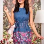 Rochie din denim cu model floral brodat