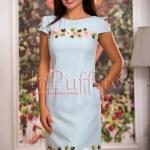 Rochie eleganta bleu cu flori brodate