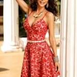 Rochie eleganta de seara din dantela rosie