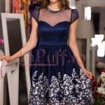 Rochie eleganta de seara tul bleumarin brodat in partea de jos