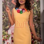 Rochie eleganta galben-pal cu aplicatii florale la gat