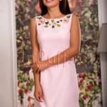 Rochie eleganta roz cu flori brodate