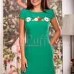 Rochie eleganta verde cu flori brodate