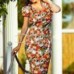 Rochie Erica de Vara cu Imprimeu Floral Maro