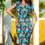 Rochie Erica Midi cu Flori Albastre
