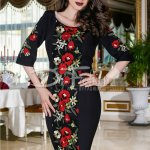 Rochie Floral Neagra Cu Broderie Colorata