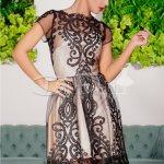 Rochie Glamour De Seara Cu Broderie Neagra