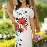 Rochie lejera ivoire cu imprimeu floral