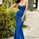 Rochie lunga albastra bistrech cu dantela