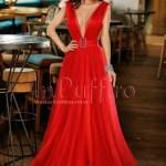 Rochie lunga de seara din tul rosu