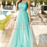 Rochie lunga de seara din tul turquoise