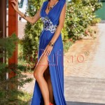 Rochie lunga lycra albastra si broderie florala