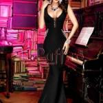 Rochie lunga neagra cu cristale