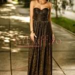 Rochie lunga neagra din crepe cu fir auriu