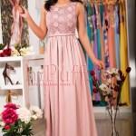 Rochie lunga roz prafuit din voal