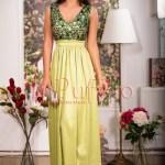 Rochie lunga verde lime cu paiete la bust