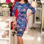 Rochie midi albastra cu imprimeu floral