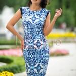 Rochie midi cu imprimeu albastru