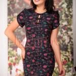 Rochie midi din brocard cu imprimeu floral