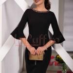 Rochie midi neagra cu accesorii la guler