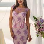 Rochie midi roz cu broderie lila