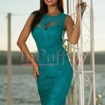 Rochie midi turquoise cu broderie