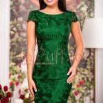 Rochie midi verde inchis cu broderie