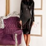 Rochie midi neagra din piele ecologica si lurex