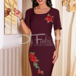 Rochie Olive Mov Cu Broderie