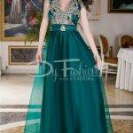 Rochie Precious Verde Smarald Cu Broderie