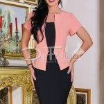Rochie Totally Roz Cu Negru Stil Sacou