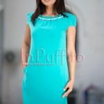 Rochie turquoise lejera de vara cu buzunare si margele albe