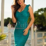 Rochie turquoise midi cu broderie