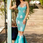 Rochie turquoise tip sirena cu broderie florala