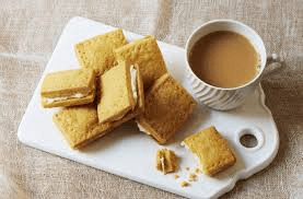 Custard cream biscuit with tea. Or you can have a cake made using a moldyfun cake mold