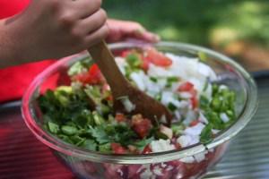 Stirring Homemade Salsa