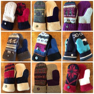 Fleece lined up-cycled wool mittens