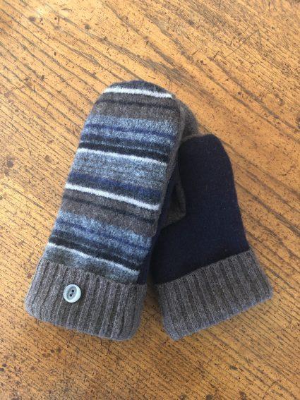 striped wool mittens-navy