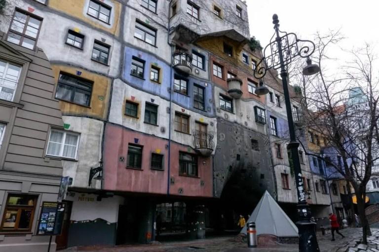 Hundertwasserhaus is an iconic monument in Vienna, Austria.