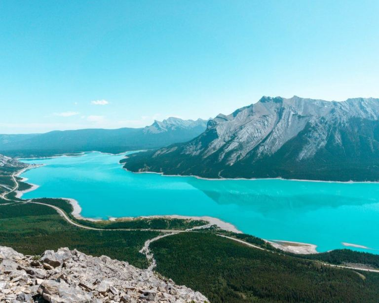 The iconic Abraham Lake in Alberta, Canada.