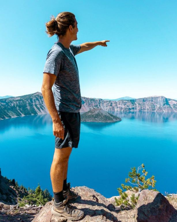 Dom pointing out at Crater Lake in Oregon.